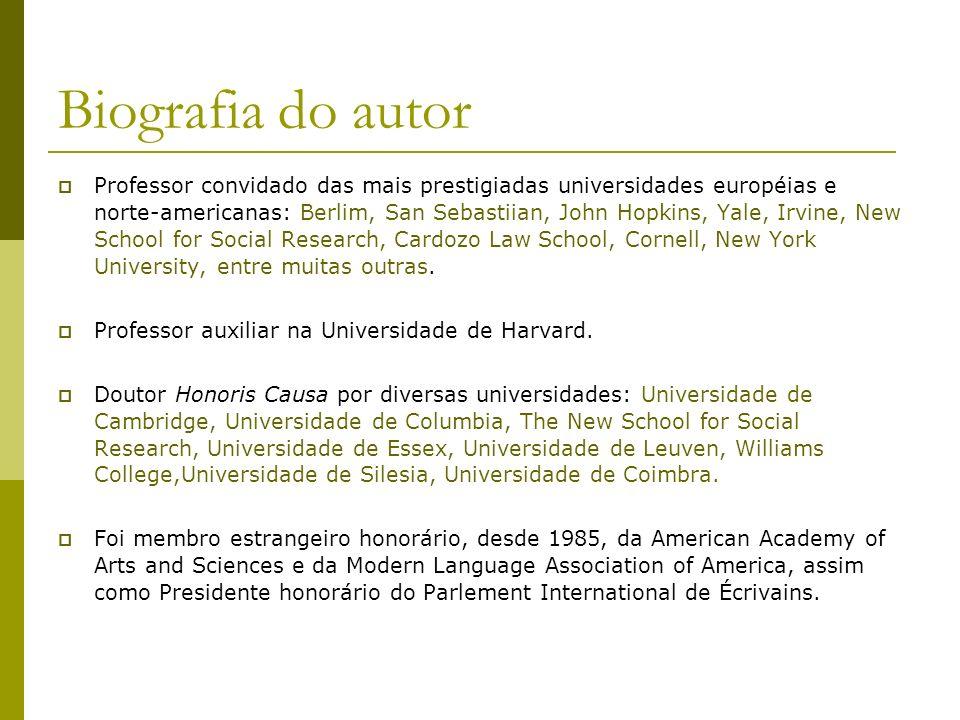 Biografia do autor Professor convidado das mais prestigiadas universidades européias e norte-americanas: Berlim, San Sebastiian, John Hopkins, Yale, I