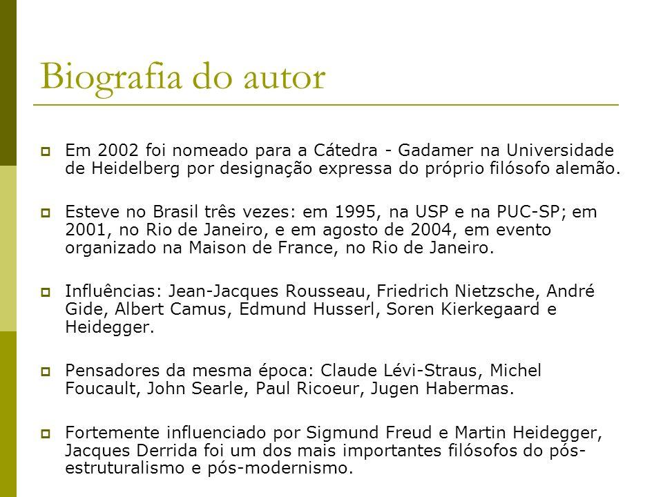 Biografia do autor Em 2002 foi nomeado para a Cátedra - Gadamer na Universidade de Heidelberg por designação expressa do próprio filósofo alemão. Este