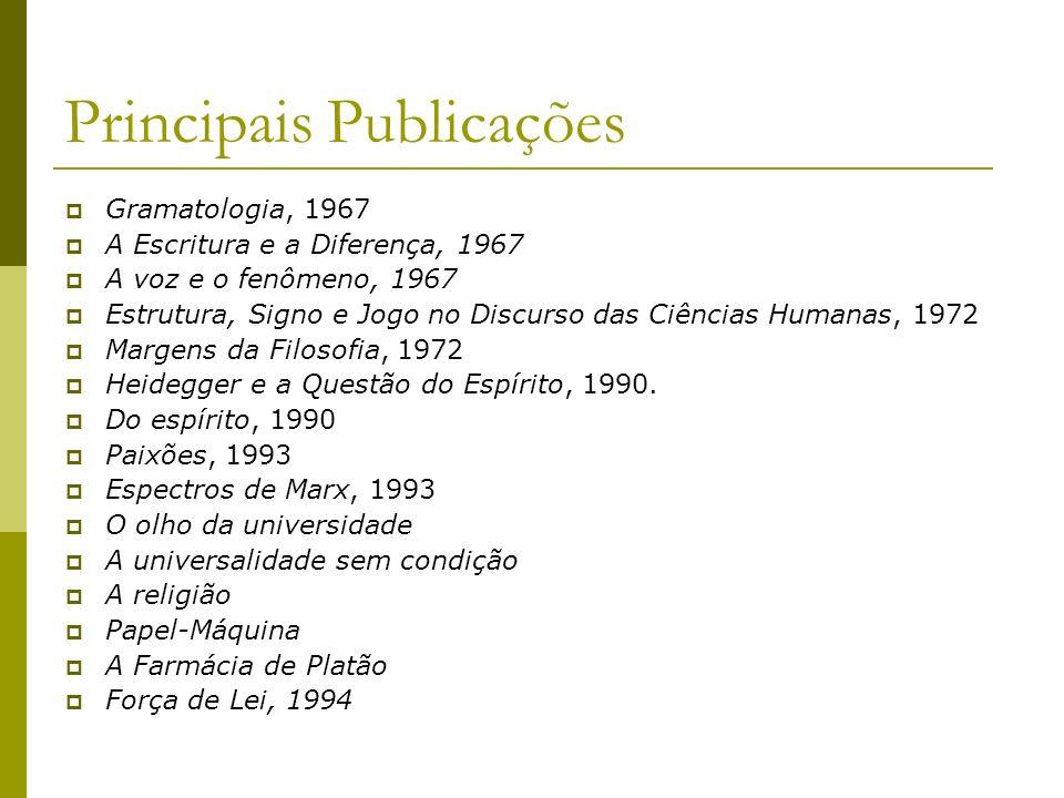 Principais Publicações Gramatologia, 1967 A Escritura e a Diferença, 1967 A voz e o fenômeno, 1967 Estrutura, Signo e Jogo no Discurso das Ciências Hu