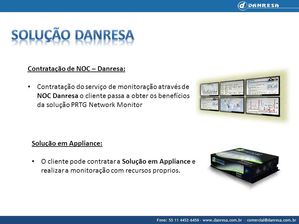 Contratação de NOC – Danresa: Contratação do serviço de monitoração através de NOC Danresa o cliente passa a obter os benefícios da solução PRTG Netwo