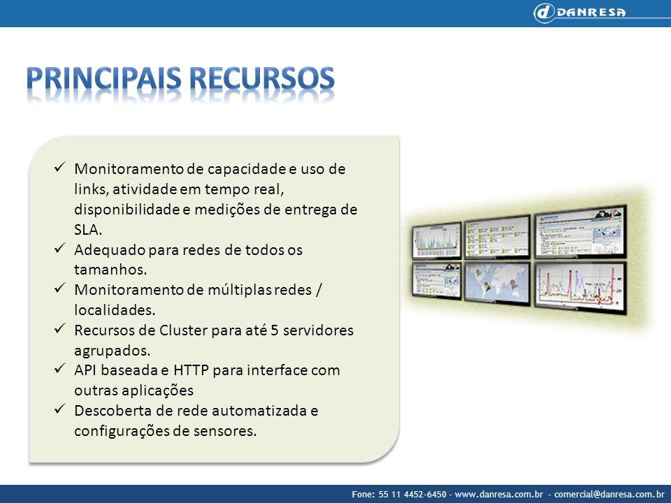 Monitoramento de capacidade e uso de links, atividade em tempo real, disponibilidade e medições de entrega de SLA. Adequado para redes de todos os tam