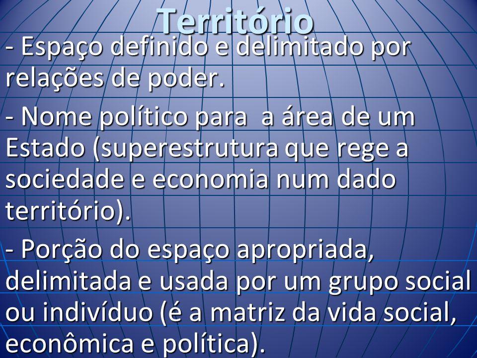 Território - Espaço definido e delimitado por relações de poder. - Nome político para a área de um Estado (superestrutura que rege a sociedade e econo