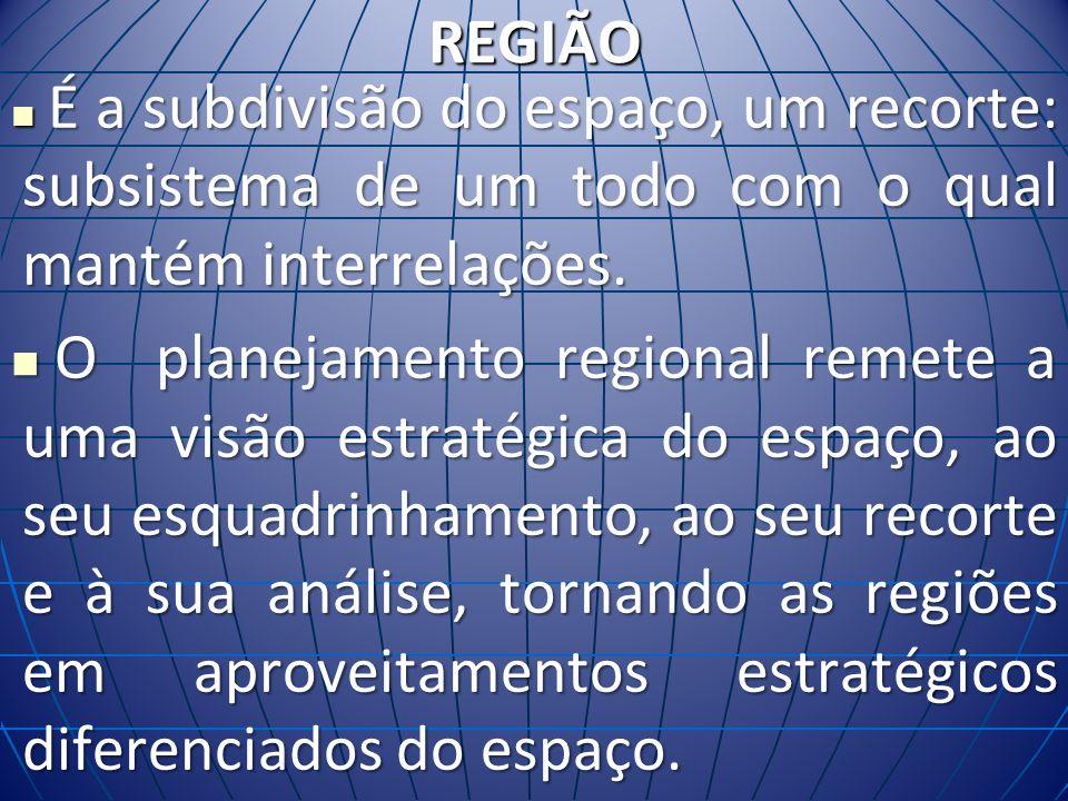 REGIÃO É a subdivisão do espaço, um recorte: subsistema de um todo com o qual mantém interrelações. É a subdivisão do espaço, um recorte: subsistema d