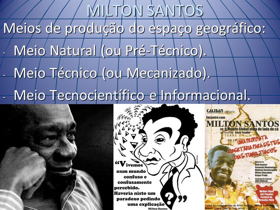 MILTON SANTOS Meios de produção do espaço geográfico: - Meio Natural (ou Pré-Técnico). - Meio Técnico (ou Mecanizado). - Meio Tecnocientífico e Inform