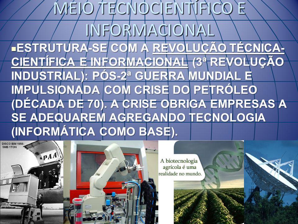MEIO TECNOCIENTÍFICO E INFORMACIONAL ESTRUTURA-SE COM A REVOLUÇÃO TÉCNICA- CIENTÍFICA E INFORMACIONAL (3ª REVOLUÇÃO INDUSTRIAL): PÓS-2ª GUERRA MUNDIAL E IMPULSIONADA COM CRISE DO PETRÓLEO (DÉCADA DE 70).