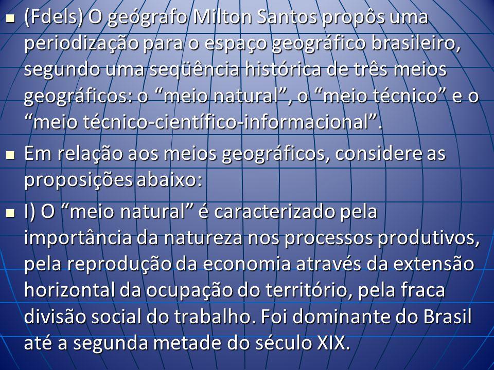 (Fdels) O geógrafo Milton Santos propôs uma periodização para o espaço geográfico brasileiro, segundo uma seqüência histórica de três meios geográficos: o meio natural, o meio técnico e o meio técnico-científico-informacional.
