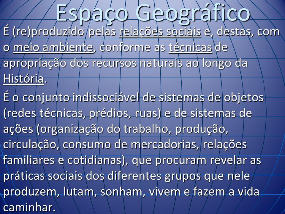 Espaço Geográfico É (re)produzido pelas relações sociais e, destas, com o meio ambiente, conforme as técnicas de apropriação dos recursos naturais ao longo da História.