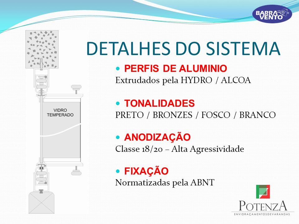 DETALHES DO SISTEMA PERFIS DE ALUMINIO Extrudados pela HYDRO / ALCOA TONALIDADES PRETO / BRONZES / FOSCO / BRANCO ANODIZAÇÃO Classe 18/20 – Alta Agres