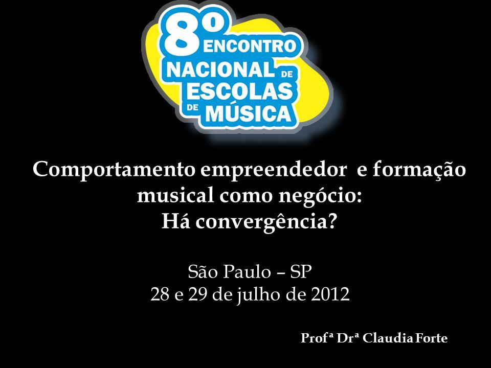 Comportamento empreendedor e formação musical como negócio: Há convergência? São Paulo – SP 28 e 29 de julho de 2012 Profª Drª Claudia Forte