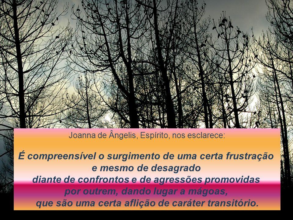 Joanna de Ângelis, Espírito, nos esclarece: É compreensível o surgimento de uma certa frustração e mesmo de desagrado diante de confrontos e de agress