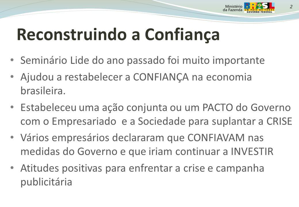 2 Reconstruindo a Confiança Seminário Lide do ano passado foi muito importante Ajudou a restabelecer a CONFIANÇA na economia brasileira. Estabeleceu u