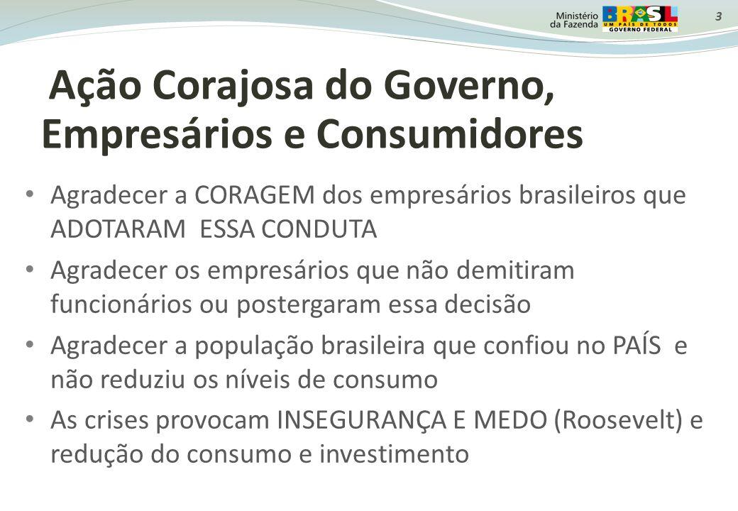 3 Ação Corajosa do Governo, Empresários e Consumidores Agradecer a CORAGEM dos empresários brasileiros que ADOTARAM ESSA CONDUTA Agradecer os empresár