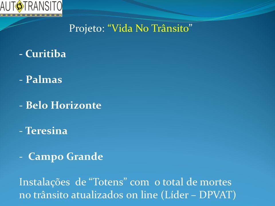 Projeto: Vida No Trânsito - Curitiba - Palmas - Belo Horizonte - Teresina - Campo Grande Instalações de Totens com o total de mortes no trânsito atualizados on line (Líder – DPVAT)