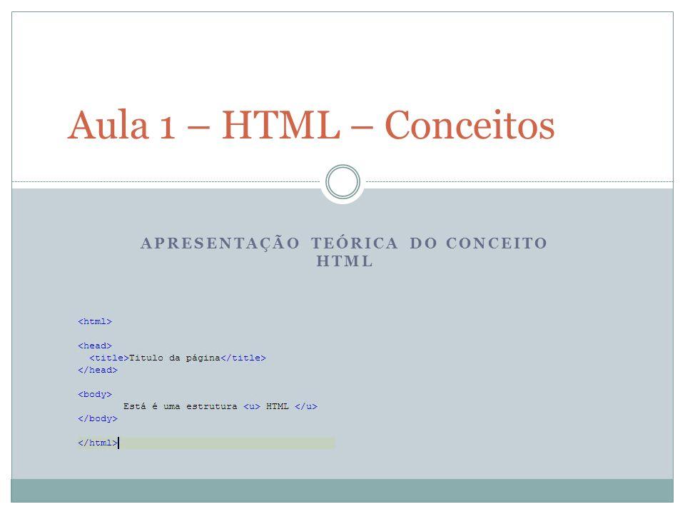 APRESENTAÇÃO TEÓRICA DO CONCEITO HTML Aula 1 – HTML – Conceitos