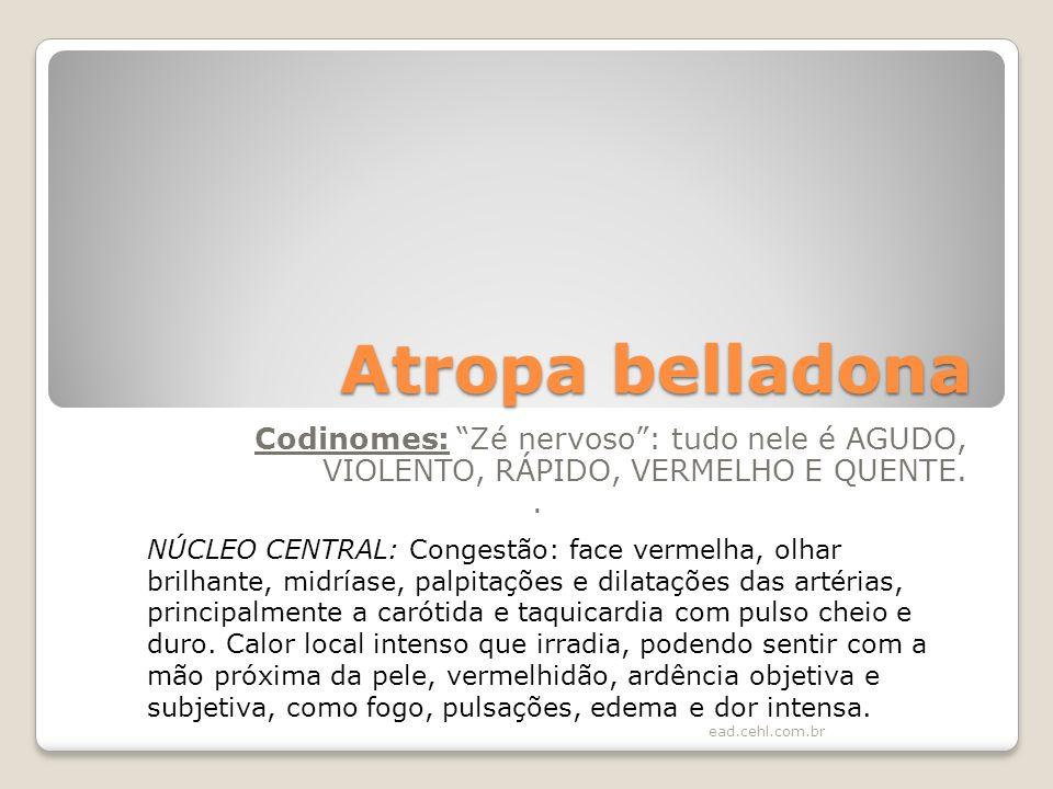 Atropa belladona Codinomes: Zé nervoso: tudo nele é AGUDO, VIOLENTO, RÁPIDO, VERMELHO E QUENTE.. NÚCLEO CENTRAL: Congestão: face vermelha, olhar brilh