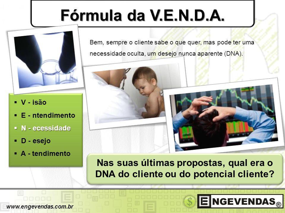 Fórmula da V.E.N.D.A. V - isão E - ntendimento N - ecessidade N - ecessidade D - esejo A - tendimento www.engevendas.com.br Bem, sempre o cliente sabe