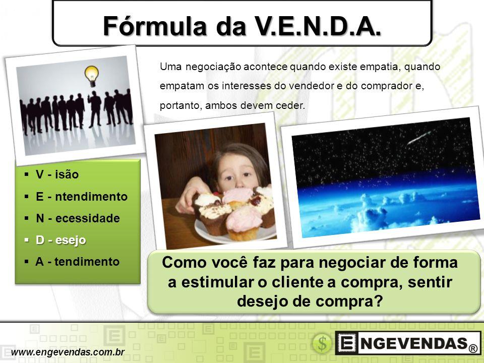 Fórmula da V.E.N.D.A. V - isão E - ntendimento N - ecessidade D - esejo D - esejo A - tendimento www.engevendas.com.br Uma negociação acontece quando