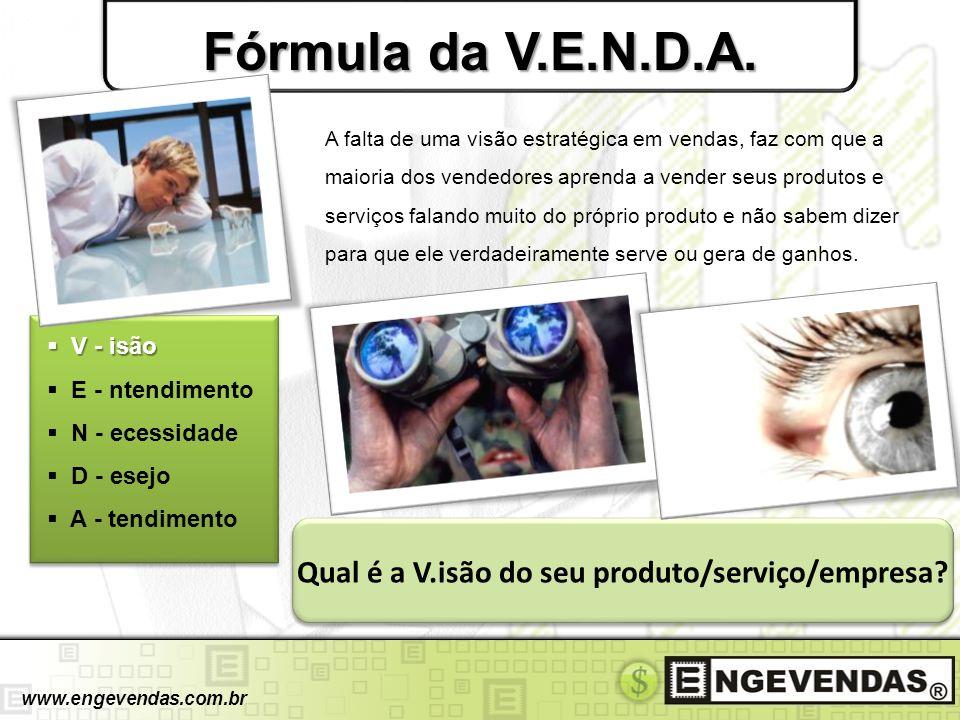 Fórmula da V.E.N.D.A. V - isão V - isão E - ntendimento N - ecessidade D - esejo A - tendimento A falta de uma visão estratégica em vendas, faz com qu