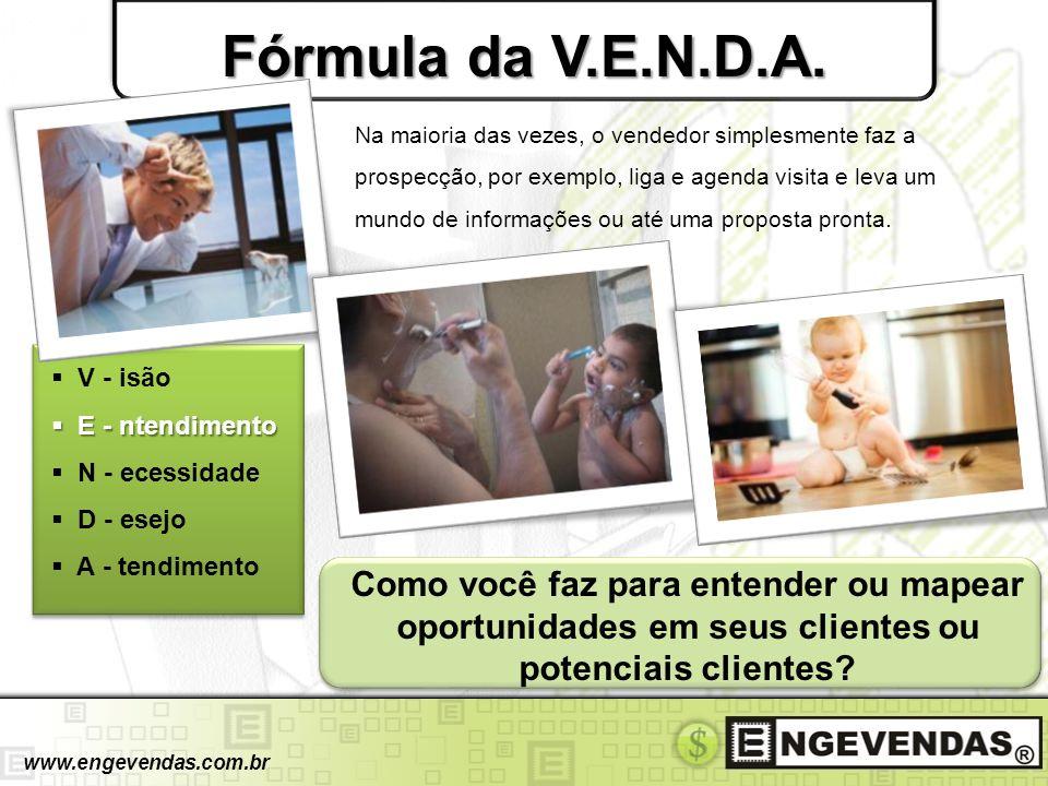 Fórmula da V.E.N.D.A. V - isão E - ntendimento E - ntendimento N - ecessidade D - esejo A - tendimento www.engevendas.com.br Na maioria das vezes, o v