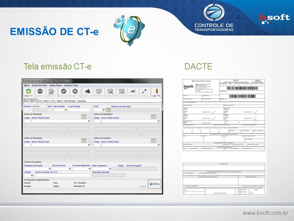 EMISSÃO DE CT-e Tela emissão CT-eDACTE