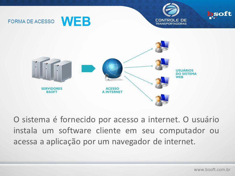 O sistema é fornecido por acesso a internet. O usuário instala um software cliente em seu computador ou acessa a aplicação por um navegador de interne