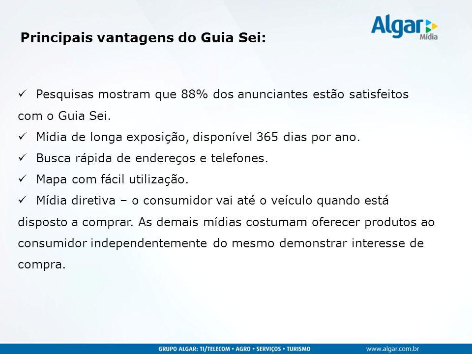 Principais vantagens do Guia Sei: Pesquisas mostram que 88% dos anunciantes estão satisfeitos com o Guia Sei. Mídia de longa exposição, disponível 365