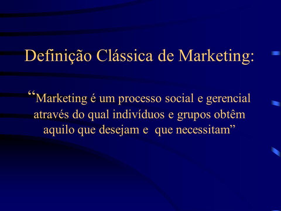 Definição Clássica de Marketing: Marketing é um processo social e gerencial através do qual indivíduos e grupos obtêm aquilo que desejam e que necessitam