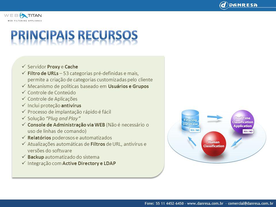 Fone: 55 11 4452-6450 - www.danresa.com.br - comercial@danresa.com.br Servidor Proxy e Cache Filtro de URLs – 53 categorias pré-definidas e mais, perm