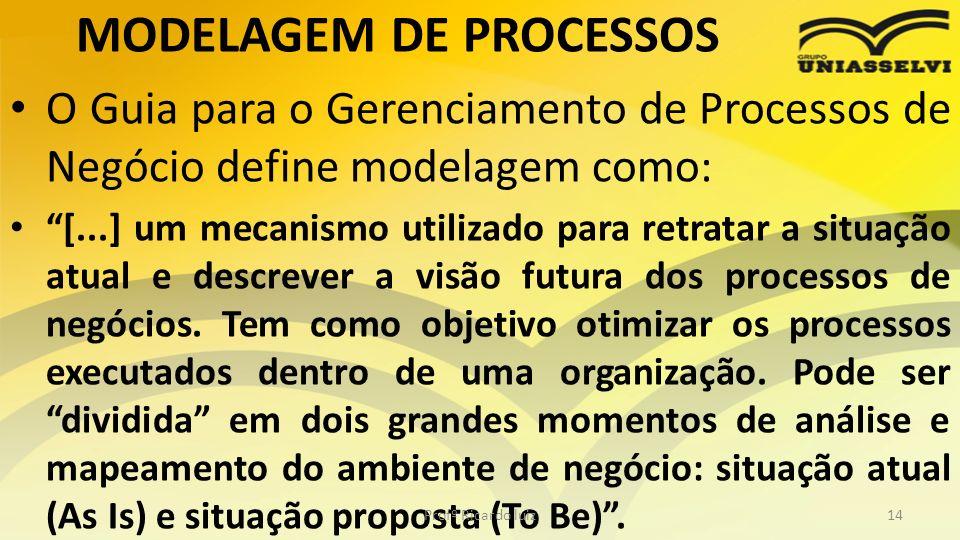 MODELAGEM DE PROCESSOS O Guia para o Gerenciamento de Processos de Negócio define modelagem como: [...] um mecanismo utilizado para retratar a situaçã