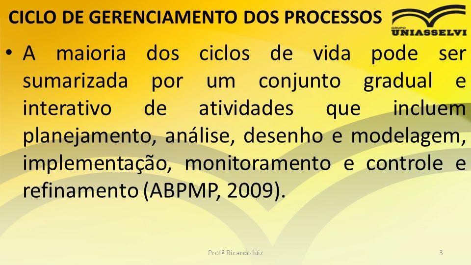 CICLO DE GERENCIAMENTO DOS PROCESSOS A maioria dos ciclos de vida pode ser sumarizada por um conjunto gradual e interativo de atividades que incluem p