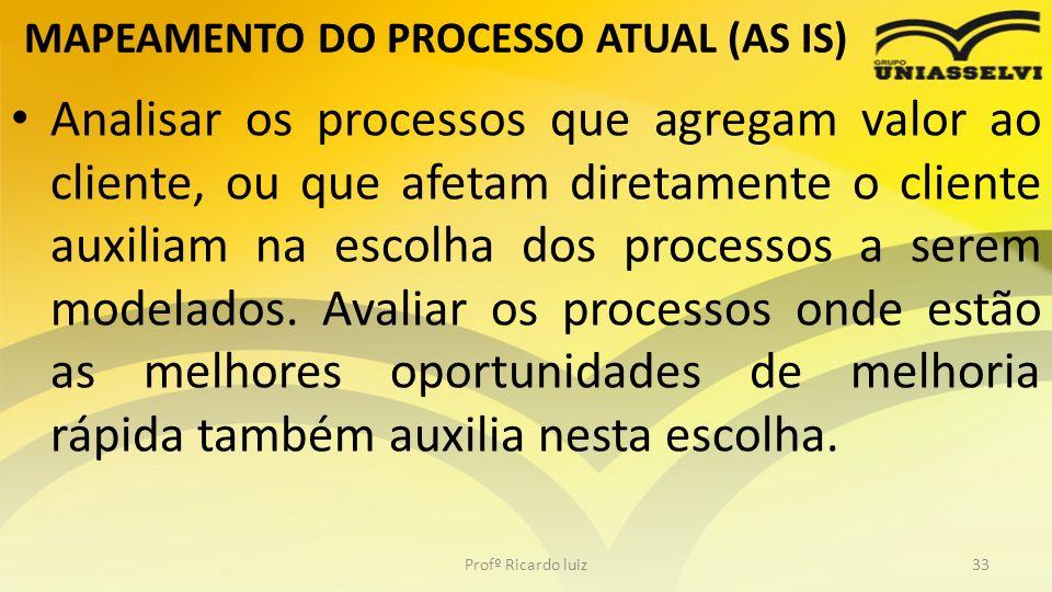 MAPEAMENTO DO PROCESSO ATUAL (AS IS) Analisar os processos que agregam valor ao cliente, ou que afetam diretamente o cliente auxiliam na escolha dos p