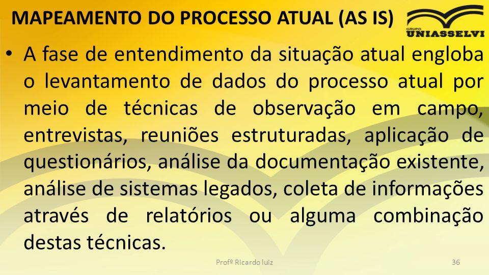 MAPEAMENTO DO PROCESSO ATUAL (AS IS) A fase de entendimento da situação atual engloba o levantamento de dados do processo atual por meio de técnicas d
