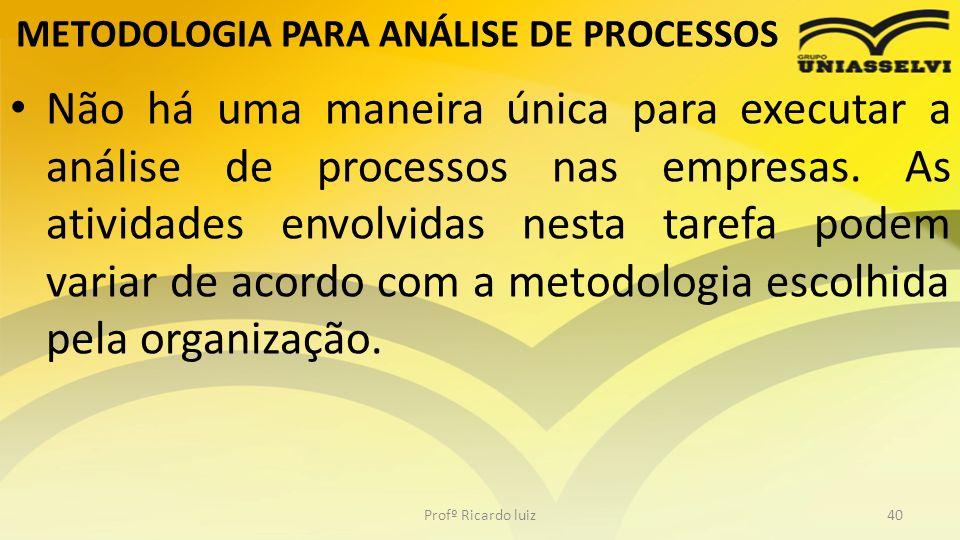 METODOLOGIA PARA ANÁLISE DE PROCESSOS Não há uma maneira única para executar a análise de processos nas empresas. As atividades envolvidas nesta taref
