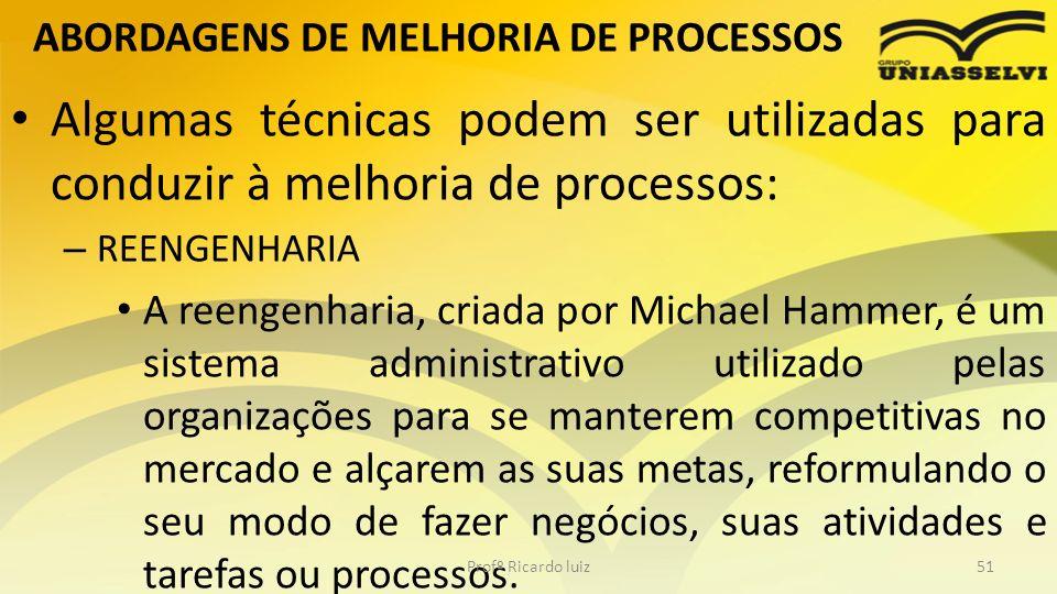 ABORDAGENS DE MELHORIA DE PROCESSOS Algumas técnicas podem ser utilizadas para conduzir à melhoria de processos: – REENGENHARIA A reengenharia, criada