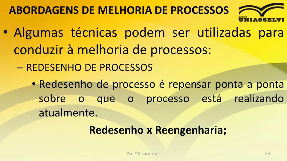 ABORDAGENS DE MELHORIA DE PROCESSOS Algumas técnicas podem ser utilizadas para conduzir à melhoria de processos: – REDESENHO DE PROCESSOS Redesenho de