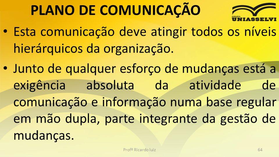 PLANO DE COMUNICAÇÃO Esta comunicação deve atingir todos os níveis hierárquicos da organização. Junto de qualquer esforço de mudanças está a exigência
