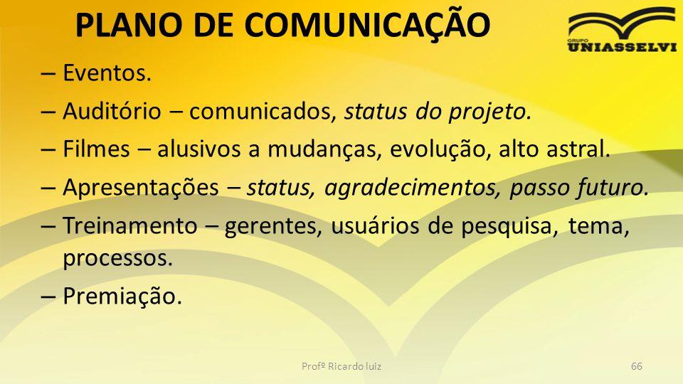PLANO DE COMUNICAÇÃO – Eventos. – Auditório – comunicados, status do projeto. – Filmes – alusivos a mudanças, evolução, alto astral. – Apresentações –