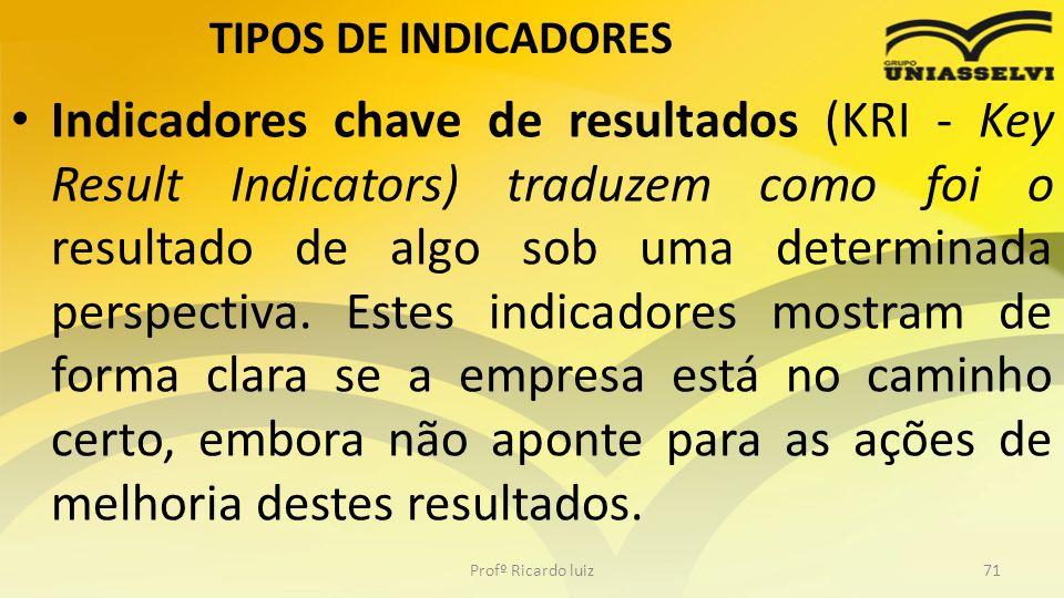 TIPOS DE INDICADORES Indicadores chave de resultados (KRI - Key Result Indicators) traduzem como foi o resultado de algo sob uma determinada perspecti