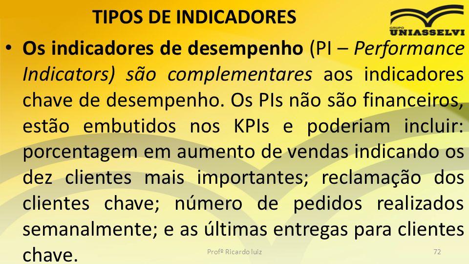 TIPOS DE INDICADORES Os indicadores de desempenho (PI – Performance Indicators) são complementares aos indicadores chave de desempenho. Os PIs não são
