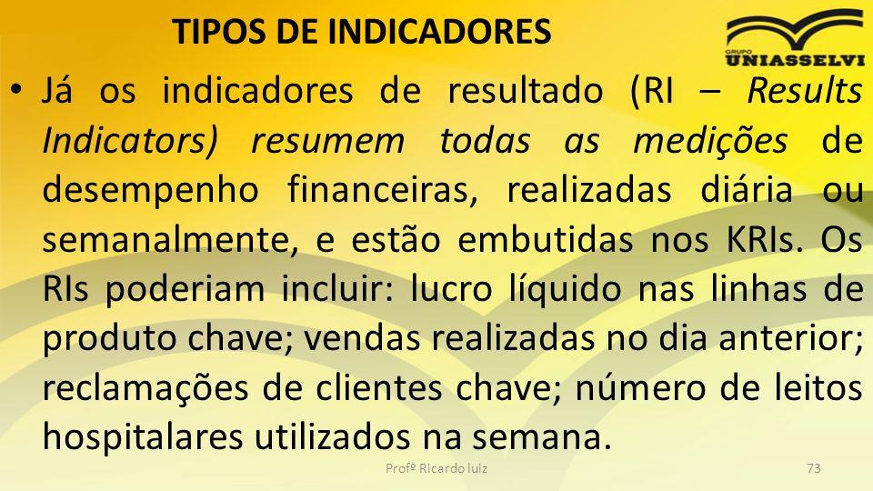 TIPOS DE INDICADORES Já os indicadores de resultado (RI – Results Indicators) resumem todas as medições de desempenho financeiras, realizadas diária o