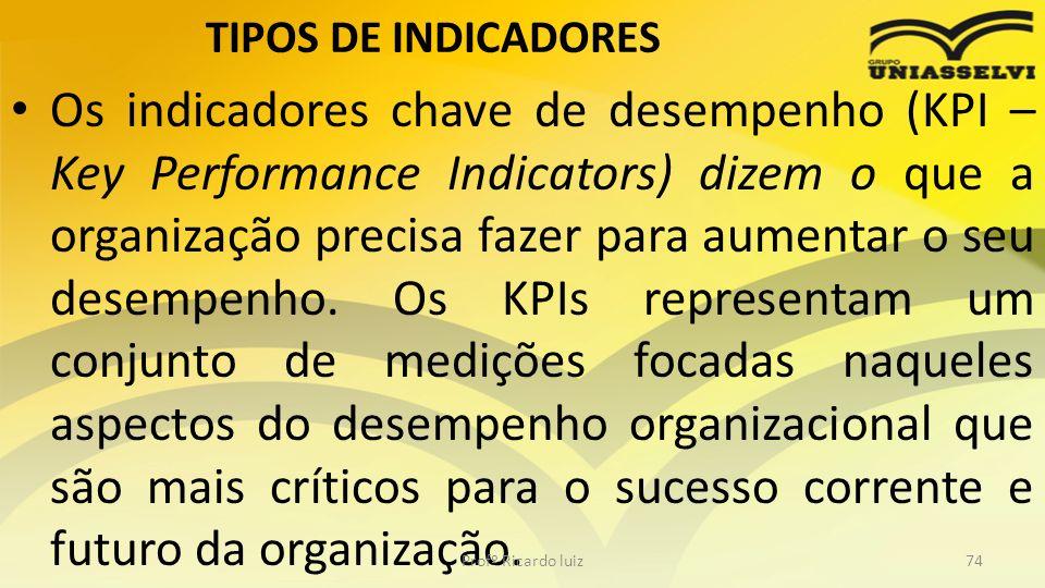 TIPOS DE INDICADORES Os indicadores chave de desempenho (KPI – Key Performance Indicators) dizem o que a organização precisa fazer para aumentar o seu
