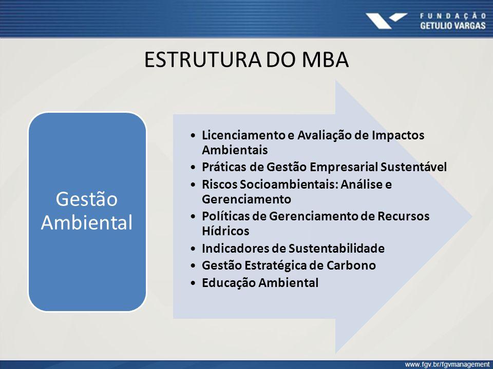 ESTRUTURA DO MBA Licenciamento e Avaliação de Impactos Ambientais Práticas de Gestão Empresarial Sustentável Riscos Socioambientais: Análise e Gerenci