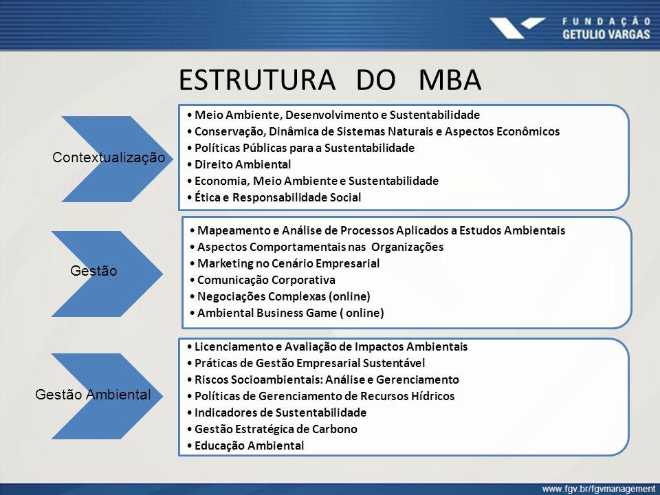 ESTRUTURA DO MBA Meio Ambiente, Desenvolvimento e Sustentabilidade Conservação, Dinâmica de Sistemas Naturais e Aspectos Econômicos Políticas Públicas