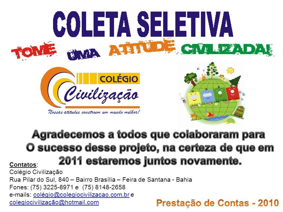 Nossas atitudes constroem um mundo melhor! Contatos: Colégio Civilização Rua Pilar do Sul, 840 – Bairro Brasília – Feira de Santana - Bahia Fones: (75