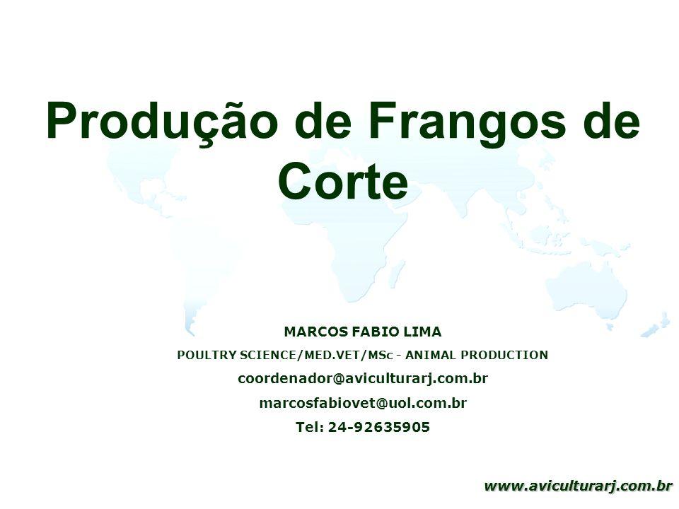 1 www.aviculturarj.com.br 1 www.aviculturarj.com.br Produção de Frangos de Corte MARCOS FABIO LIMA POULTRY SCIENCE/MED.VET/MSc - ANIMAL PRODUCTION coo