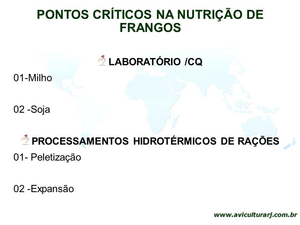 11 www.aviculturarj.com.br PONTOS CRÍTICOS NA NUTRIÇÃO DE FRANGOS LABORATÓRIO /CQ 01-Milho 02 -Soja PROCESSAMENTOS HIDROTÉRMICOS DE RAÇÕES 01- Peletiz