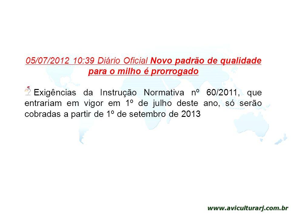 17 www.aviculturarj.com.br 05/07/2012 10:39 Diário Oficial Novo padrão de qualidade para o milho é prorrogado Exigências da Instrução Normativa nº 60/