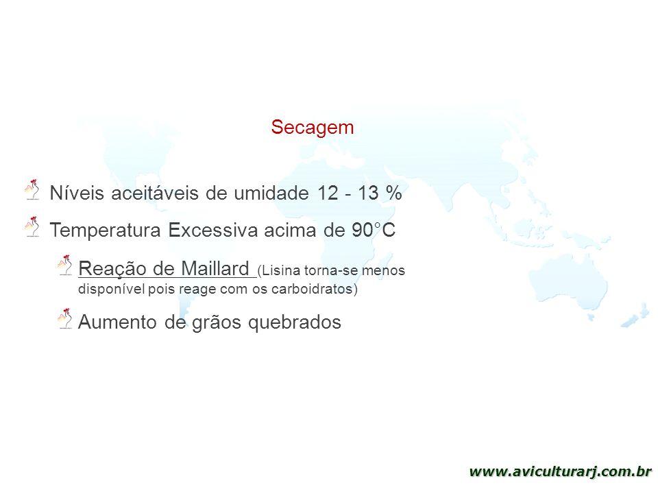 21 www.aviculturarj.com.br Níveis aceitáveis de umidade 12 - 13 % Temperatura Excessiva acima de 90°C Reação de Maillard (Lisina torna-se menos dispon