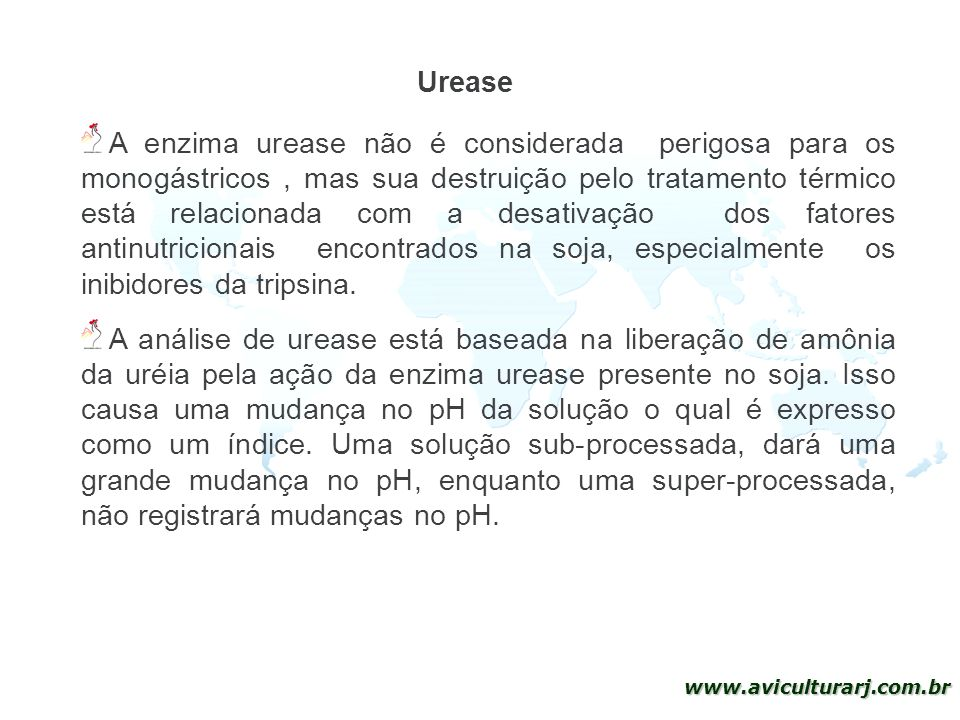 31 www.aviculturarj.com.br Urease A enzima urease não é considerada perigosa para os monogástricos, mas sua destruição pelo tratamento térmico está re