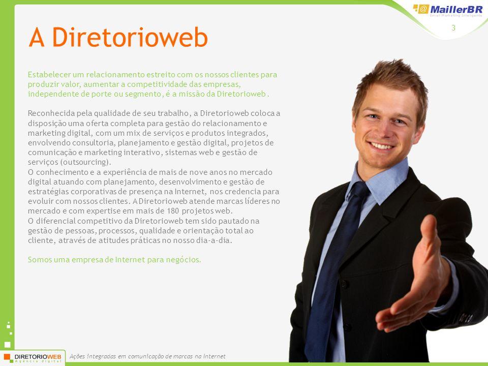Ações integradas em comunicação de marcas na Internet 3 A Diretorioweb Estabelecer um relacionamento estreito com os nossos clientes para produzir valor, aumentar a competitividade das empresas, independente de porte ou segmento, é a missão da Diretorioweb.